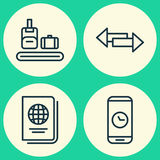 Traveling Icons Set. Collection Of Briefcase Scanner, Call Duration, Identification Document And Other Elements. Also Royalty Free Stock Photo