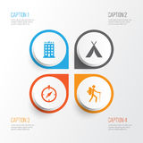 Traveling Icons Set. Collection Of Building, Guide, Traveler And Other Elements. Also Includes Symbols Such As Traveler. Traveling Icons Set. Collection Of Stock Photo