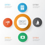 Traveling Icons Set. Collection Of Camera. Certificate, Boat And Other Elements Royalty Free Stock Image