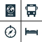 Traveling Icons Set. Collection Of Certificate, Transport, Doss And Other Elements. Also Includes Symbols Such As. Traveling Icons Set. Collection Of Certificate Royalty Free Stock Photography