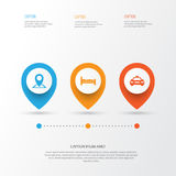Traveling Icons Set. Collection Of Location, Car, Doss And Other Elements. Also Includes Symbols Such As Doss, Kip, Pin. Traveling Icons Set. Collection Of Royalty Free Stock Photos