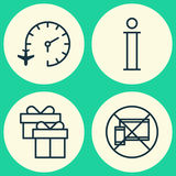 Traveling Icons Set. Collection Of Travel Clock, Forbidden Mobile, Information And Other Elements. Also Includes Symbols. Traveling Icons Set. Collection Of Stock Images