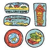 Traveling colored illustration, icons set. Traveling icons set. Colored illustration. Sports and recreation Stock Image