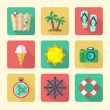 Traveling Icons Set. Flat Icons Set for Vacation and Tourism Stock Image