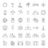 Traveling icons. Set of minimalistic traveling icons Royalty Free Stock Photography