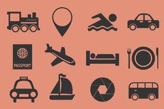 Traveling icons set. On the pink background Stock Photos