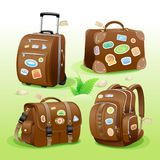 Traveling icons of a suitcase, bag, briefcase and backpack. Detailed vector items Royalty Free Stock Images