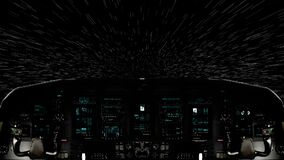 Traveling Inside a Spaceship Cockpit Moving in Light Speed. Futuristic Spaceship Cockpit Dashboard with Functional Monitors stock video footage