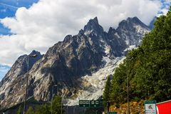 Traveling through the Italian Alps. Highway Traveling through the Italian Alps towards Mont Blanc, Italy Stock Photography