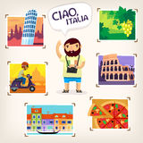 Traveling in Italy. Tourist making pictures of famous Italian sights, beautiful nature and local cuisine Royalty Free Stock Photos