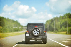 Traveling jeep, textured. Royalty Free Stock Photos
