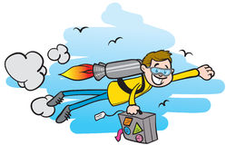 Traveling with a jet pack. A guy traveling with a jet pack, carrying a suitcase Royalty Free Stock Photo