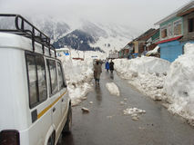 Traveling in Kashmir during winter. Its photo of how traveling is tough in Kashmir in India during winter stock photography