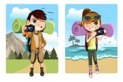 Traveling kids stock illustration