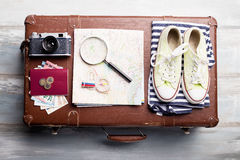 Traveling kit for holiday vacation Stock Photography