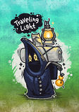 Traveling Light Cartoon Character. Illustration for poster or postcard Stock Images