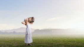 She is traveling light Royalty Free Stock Photo