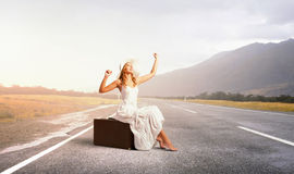 She is traveling light Royalty Free Stock Photos