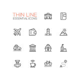 Traveling - line icons set Royalty Free Stock Photography