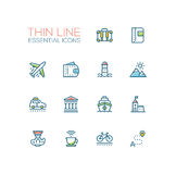 Traveling - line icons set Stock Photography