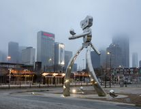 Traveling man stainless steel scupture, Deep Ellum, Dallas, Texas Royalty Free Stock Photo