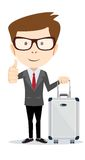 Traveling man with suitcase Vector illustration Stock Photography
