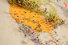 Traveling map with many points. On United States Stock Photos