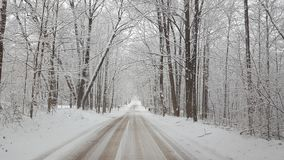 Traveling in a Michigan winter wonderland. White cold snow dirt road lane avenue ice frosty frost Royalty Free Stock Photo