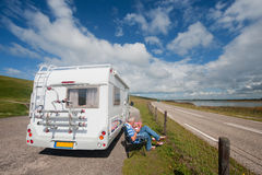 Traveling by mobil home stock photo