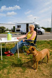 Traveling by mobile home. Traveling with dog by mobile home Royalty Free Stock Images