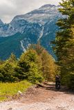 Traveling with the motorcicle in the mountain. Tourism, exploring stock image