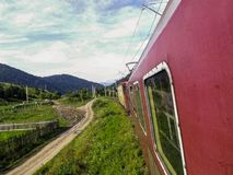 Traveling through the mountains by train.  Stock Images