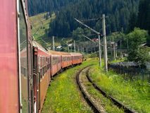 Traveling through the mountains by train.  Stock Photos