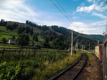 Traveling through the mountains by train.  Stock Photo