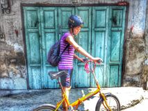 Traveling is my life. Woman is traveling by bicycle Royalty Free Stock Images