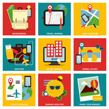 Traveling nine flat items concept Royalty Free Stock Photo