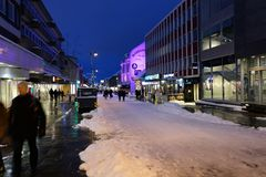 Tromso harbour icity center swow royalty free stock photography