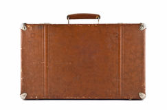 Traveling - old-fashioned suitcase isolated Stock Images