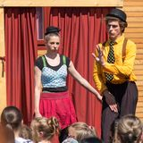 Traveling pantomime company show - deadpan and shy royalty free stock photos