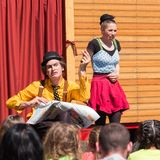 Traveling pantomime company show - offensive and apprehensive. Traveling pantomime company called `Tarkabarka` show at a school in Sopron, Hungary on May 27th royalty free stock photography