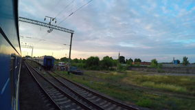 Traveling by Passenger Train. View from the Train Window stock video footage