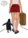 Traveling with Penguin. Woman with suitcase, traveling with a penguin Royalty Free Stock Photos