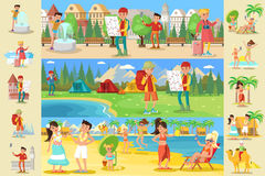 Traveling People Infographic Concept Stock Images