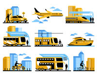 Traveling People Isolated Decorative Icons Set Stock Images