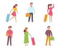Traveling people, isometric icons with men and women in different poses and luggage, isolated vector illustration royalty free stock images