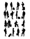 Traveling People Silhouettes Royalty Free Stock Photo