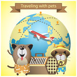 Traveling with pets on airlines. Vector illustration with pets, kennel and earth globe Royalty Free Stock Photography