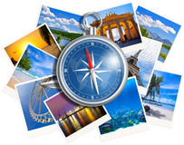 Traveling photos collage with compass isolated on white Stock Images