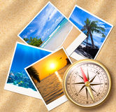 Traveling photos with compass Royalty Free Stock Photo