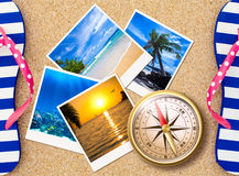 Traveling photos with compass on beach concept. Traveling photos collage with compass on sand beach Royalty Free Stock Images